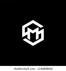 Outstanding professional elegant trendy awesome artistic black and white color SM MS initial based Alphabet icon logo.