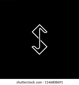 Outstanding professional elegant trendy awesome artistic black and white color SJ JS initial based Alphabet icon logo.