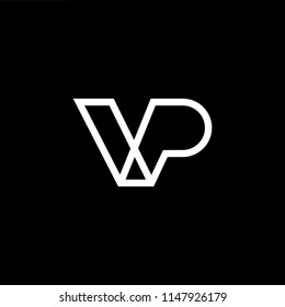 Outstanding professional elegant trendy awesome artistic black and white color VP PV initial based Alphabet icon logo.