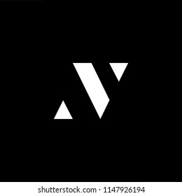 Outstanding professional elegant trendy awesome artistic black and white color VN NV initial based Alphabet icon logo.