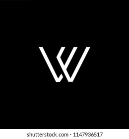 Outstanding professional elegant trendy awesome artistic black and white color WE EW initial based Alphabet icon logo.