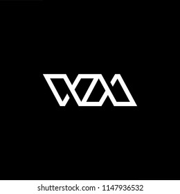 Outstanding professional elegant trendy awesome artistic black and white color WM MW initial based Alphabet icon logo.