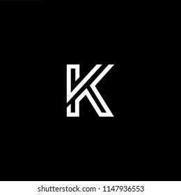 Outstanding professional elegant trendy awesome artistic black and white color VK KV initial based Alphabet icon logo.