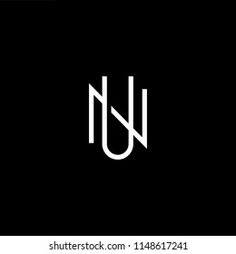 Outstanding professional elegant trendy awesome artistic black and white color UN NU initial based Alphabet icon logo.
