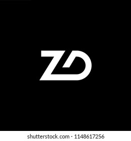 Outstanding professional elegant trendy awesome artistic black and white color ZD DZ initial based Alphabet icon logo.