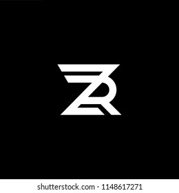 Outstanding professional elegant trendy awesome artistic black and white color ZR RZ initial based Alphabet icon logo.