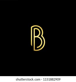 Outstanding professional elegant trendy awesome artistic black and gold color B BB initial based Alphabet icon logo.