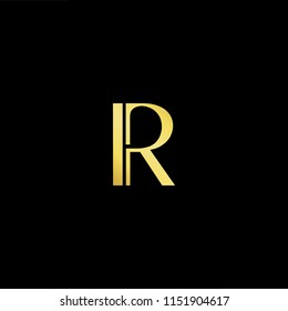 Outstanding professional elegant trendy awesome artistic black and gold color R RR initial based Alphabet icon logo.