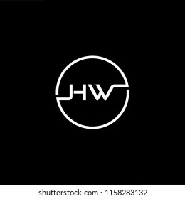 Outstanding professional elegant trendy awesome artistic black and white color HW WH initial based Alphabet icon logo.