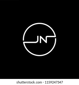 Outstanding professional elegant trendy awesome artistic black and white color JN NJ initial based Alphabet icon logo.