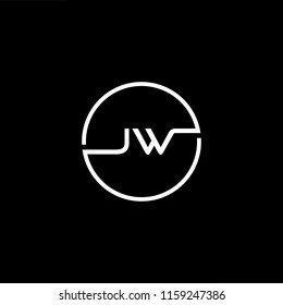 Outstanding professional elegant trendy awesome artistic black and white color JW WJ initial based Alphabet icon logo.