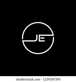 Outstanding professional elegant trendy awesome artistic black and white color JE EJ initial based Alphabet icon logo.