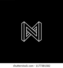 Outstanding professional elegant trendy awesome artistic black and gold color N NN NM MN initial based Alphabet icon logo.