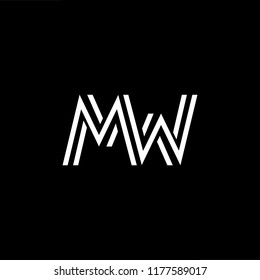 Outstanding professional elegant trendy awesome artistic black and gold color MW WM initial based Alphabet icon logo.