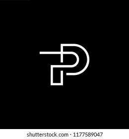 Outstanding professional elegant trendy awesome artistic black and gold color PP TP PT initial based Alphabet icon logo.