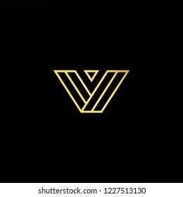 Outstanding professional elegant trendy awesome artistic black and gold color V VV VVV initial based Alphabet icon logo.