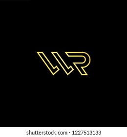 Outstanding professional elegant trendy awesome artistic black and gold color WR RW initial based Alphabet icon logo.