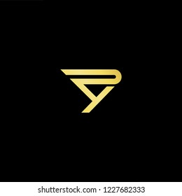 Outstanding professional elegant trendy awesome artistic black and gold color PY YP initial based Alphabet icon logo.