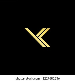Outstanding professional elegant trendy awesome artistic black and gold color YK KY initial based Alphabet icon logo.