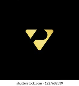 Outstanding professional elegant trendy awesome artistic black and gold color VP PV initial based Alphabet icon logo.