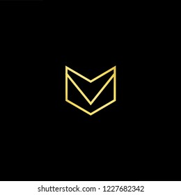 Outstanding professional elegant trendy awesome artistic black and gold color MV VM initial based Alphabet icon logo.