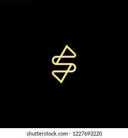 Outstanding professional elegant trendy awesome artistic black and gold color S SS SP SP initial based Alphabet icon logo.