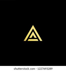 Outstanding professional elegant trendy awesome artistic black and gold color AA initial based Alphabet icon logo.