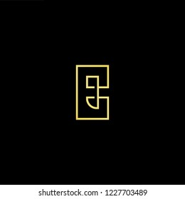 Outstanding professional elegant trendy awesome artistic black and gold color E EE CE EC initial based Alphabet icon logo.
