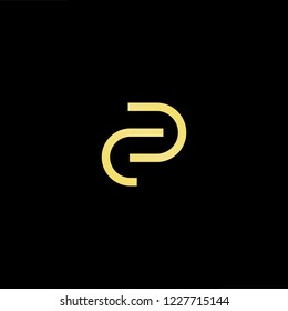 Outstanding professional elegant trendy awesome artistic black and gold color CP PC initial based Alphabet icon logo.