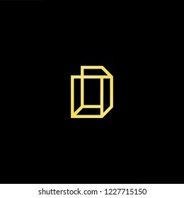 Outstanding professional elegant trendy awesome artistic black and gold color D DD initial based Alphabet icon logo.