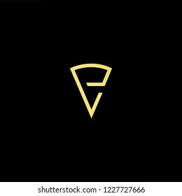 Outstanding professional elegant trendy awesome artistic black and gold color PV VP initial based Alphabet icon logo.
