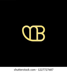 Outstanding professional elegant trendy awesome artistic black and gold color MB BM initial based Alphabet icon logo.