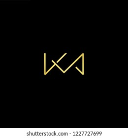 Outstanding professional elegant trendy awesome artistic black and gold color KM MK initial based Alphabet icon logo.