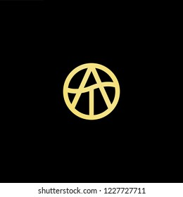 Outstanding professional elegant trendy awesome artistic black and gold color AT TA initial based Alphabet icon logo.