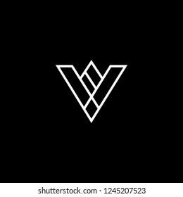 Outstanding professional elegant trendy awesome artistic black and white color VW WV VA AV VV initial based Alphabet icon logo.