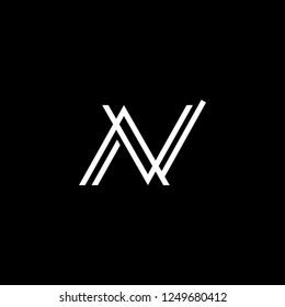 Outstanding professional elegant trendy awesome artistic black and white color AV VA NN NA AN NV VN initial based Alphabet icon logo.