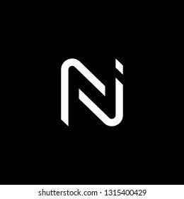 Outstanding professional elegant trendy awesome artistic black and white color N NN NJ JN initial based Alphabet icon logo.