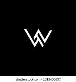 Outstanding professional elegant trendy awesome artistic black and white color W WW WN NW initial based Alphabet icon logo.