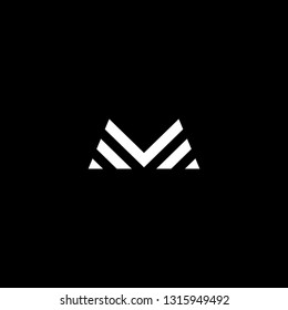 Outstanding professional elegant trendy awesome artistic black and white color M MM MV VM initial based Alphabet icon logo.