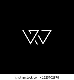 Outstanding professional elegant trendy awesome artistic black and white color WR RW initial based Alphabet icon logo.