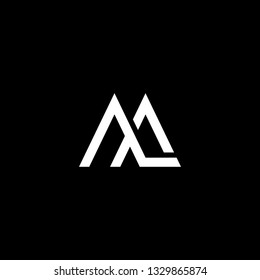 Outstanding professional elegant trendy awesome artistic black and white color ML LM AM MA AA initial based Alphabet icon logo.