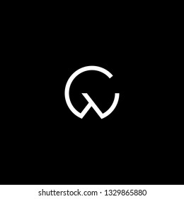 Outstanding professional elegant trendy awesome artistic black and white color GW WG CW WC initial based Alphabet icon logo.