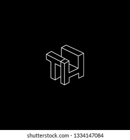 Outstanding professional elegant trendy awesome artistic black and white color TH HT initial based Alphabet icon logo.