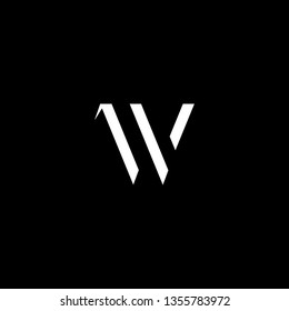 Outstanding professional elegant trendy awesome artistic black and white color V VV VW WV initial based Alphabet icon logo.