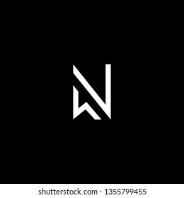 Outstanding professional elegant trendy awesome artistic black and white color WN NW initial based Alphabet icon logo.