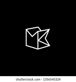 Outstanding professional elegant trendy awesome artistic black and white color MK KM initial based Alphabet icon logo.