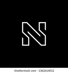 Outstanding professional elegant trendy awesome artistic black and white color N NN NS SN initial based Alphabet icon logo.