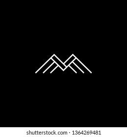 Outstanding professional elegant trendy awesome artistic black and white color M MM MMM MV VM initial based Alphabet icon logo.