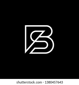 Outstanding professional elegant trendy awesome artistic black and white color BS SB initial based Alphabet icon logo.