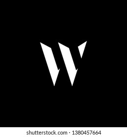Outstanding professional elegant trendy awesome artistic black and white color W WV VW initial based Alphabet icon logo.